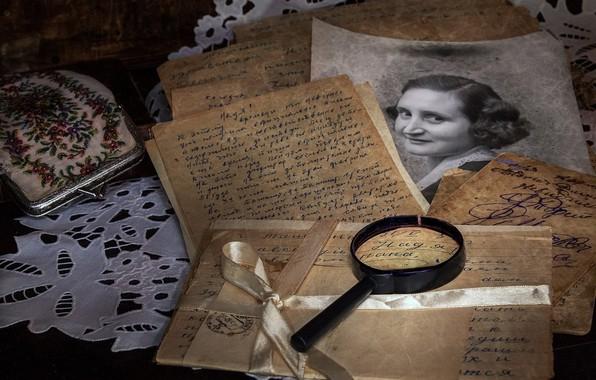 Картинка письмо, ретро, фото, лупа, винтаж, бумаги, кошелек