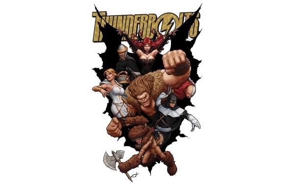 Картинка комикс, Marvel Comics, Тролль, Сатана, Бумеранг, Thunderbolts, Мистер Хайд, Moonstone
