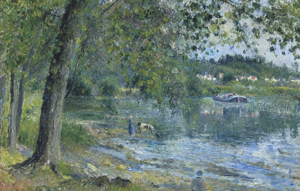 Фото обои пейзаж, природа, картина, Камиль Писсарро, Берега Реки Уаза в Овер-сюр-Уаз