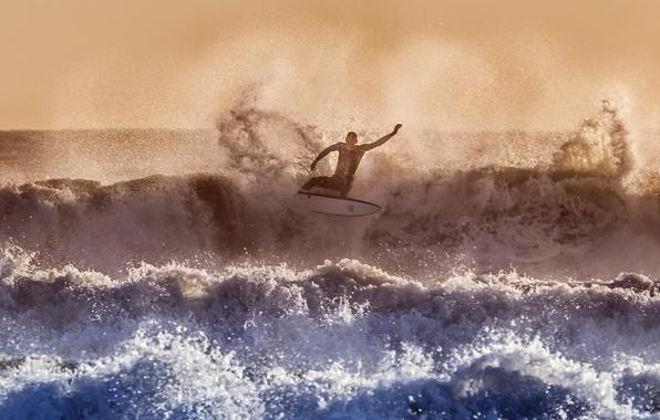 Фото обои море, волны, спорт, серфинг