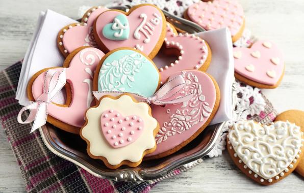 Картинка печенье, лента, сердечки, глазурь, cookies, День всех влюбленных, Valentines's Day