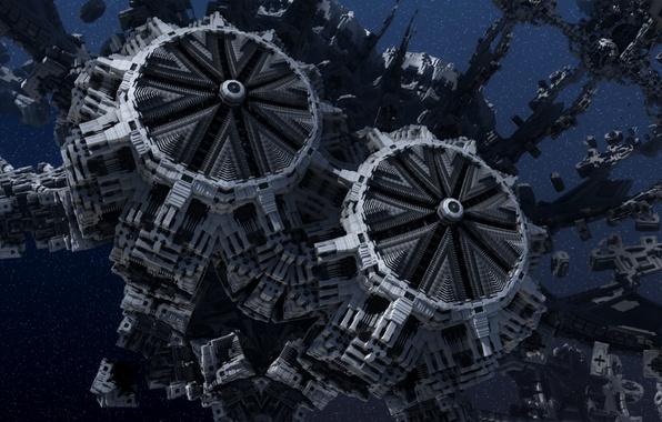 Картинка космос, фракталы, звёзды, starbase, космическая база