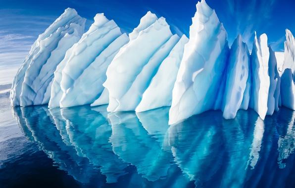 Картинка море, небо, отражение, океан, лёд, ледник