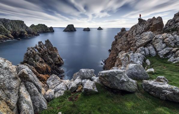 Картинка море, скалы, берег, человек