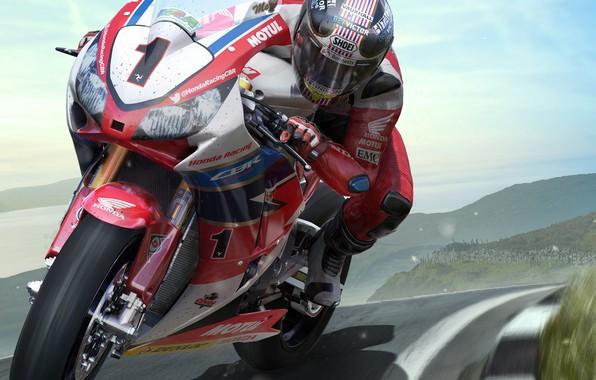 Картинка трасса, мотоцикл, гонщик, TT ISLE OF MAN