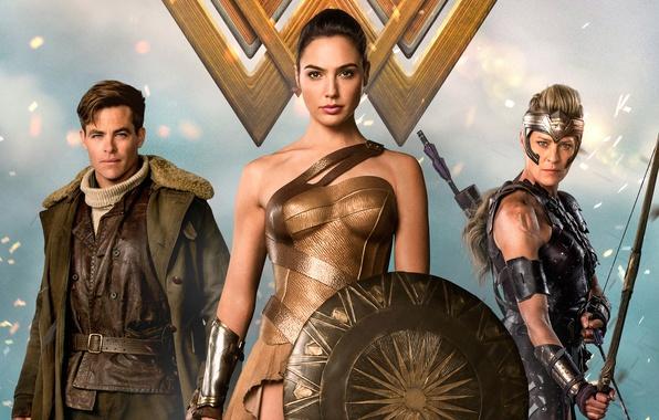 Картинка cinema, Wonder Woman, armor, movie, brunette, blonde, film, bow, Chris Pine, warrior, DC Comics, Diana, ...