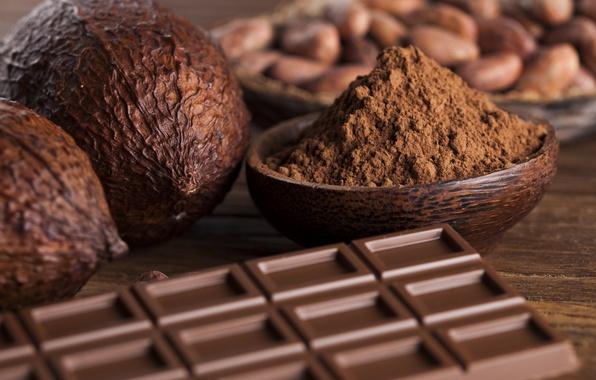 Картинка зерно, шоколад, орех, миска, орехи, chocolate, горький шоколад, nuts, какао, cocoa, corn, bowl, nut, dark ...