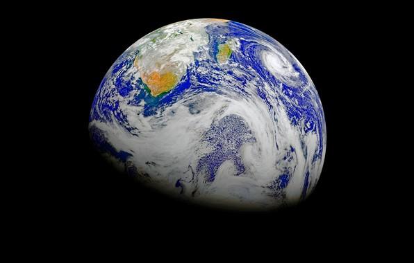Картинка облака, планета, Земля, ураган, циклон
