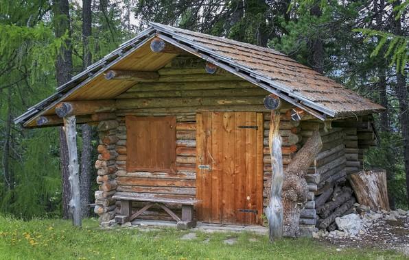 Картинка лес, скамейка, Альпы, хижина, архитектура, сосна, сруб, домик в лесу, бревенчатая конструкция, Бревенчатый коттедж в …