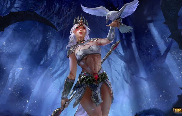 Картинка девушка, маг, ворон, Morrigan, moba, Smite, Pale Raven