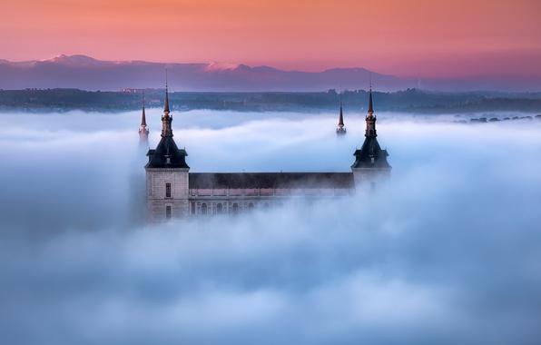 Картинка горы, туман, утро, собор