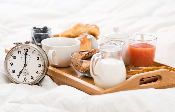 Картинка стакан, чай, часы, завтрак, молоко, сок, кувшин, поднос