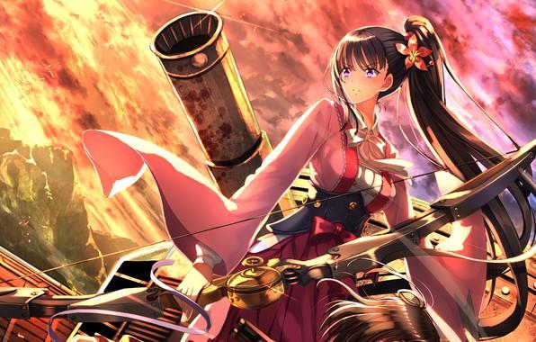 Фото обои zombie, weapon, anime, bow, manga, kimono, arrow, bishojo, cannon, Attack on Titan, japonese, Koutetsujou no ...