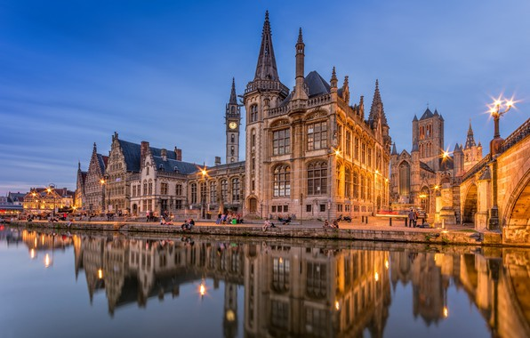 Картинка city, lights, twilight, river, sunset, evening, people, Belgium, reflection, architecture, building, towers, church, spiers, bell …