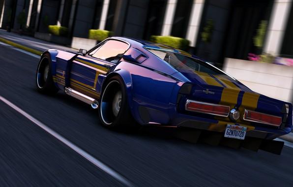 Картинка дорога, скорость, Mustang, автомобиль, Grand Theft Auto V, Rockstar Games, GTA V.