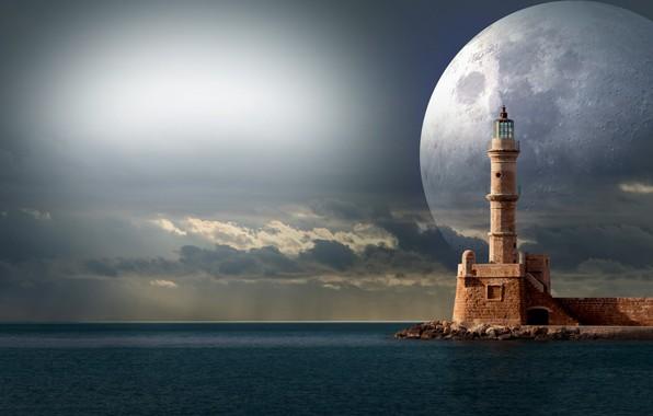 Картинка небо, побережье, маяк, планета