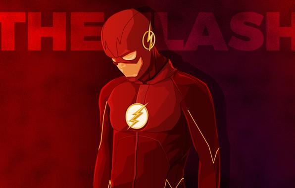 Картинка красный, фон, фантастика, надпись, вектор, костюм, супергерой, комикс, Флэш, The Flash, Barry Allen