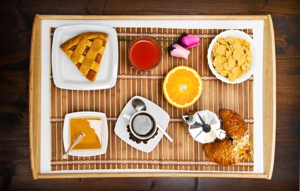 Картинка кофе, апельсин, завтрак, мед, пирог, круассан
