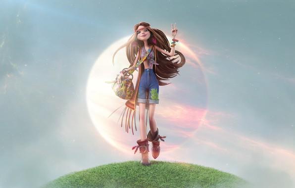 Картинка девушка, стиль, хиппи, арт, Hippie !, Rakan Khamash