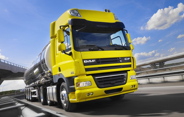 Картинка жёлтый, движение, трасса, DAF, цистерна, седельный тягач, ДАФ, Space Cab, полуприцеп, Euro5, 6х2, DAF CF85.410