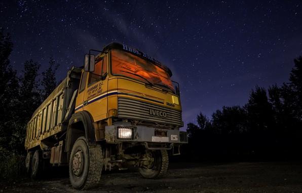 Картинка машина, ночь, самосвал