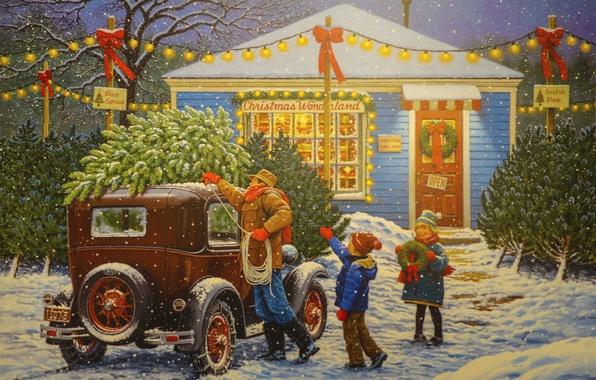 Картинка машина, снег, праздник, елка, рождество, семья, гирлянда, John Sloane