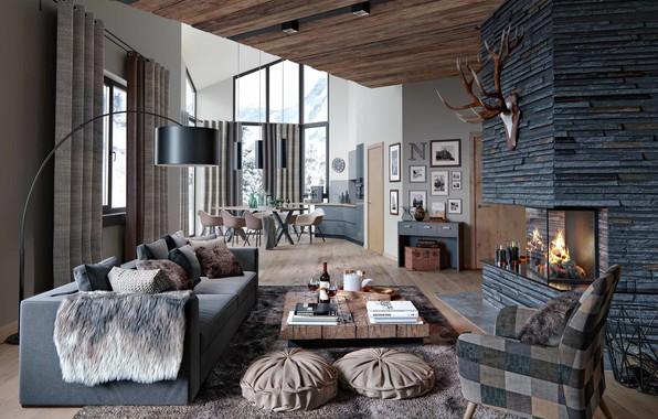 Картинка вилла, интерьер, жилое пространство, Alpenrose