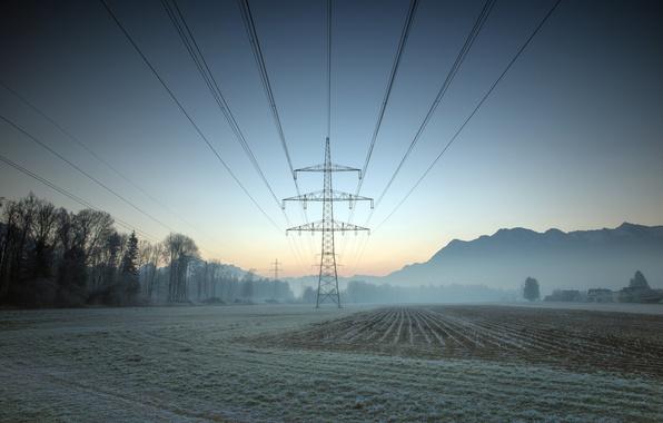 Картинка поле, туман, утро, лэп