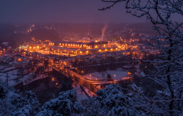 Картинка зима, деревья, мост, река, здания, Германия, панорама, ночной город, Germany, Саксония, Saxony, Waldheim, Zschopau River, ...