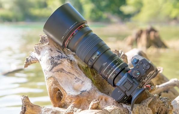 Фото обои фотоаппарат, объектив, Canon EF200mm, SONY a7II