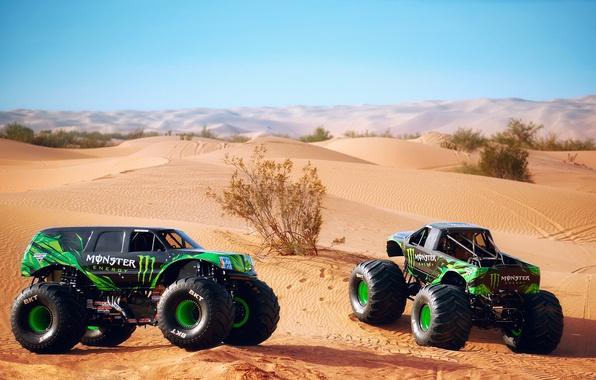 Картинка небо, барханы, пустыня, дюны, фотограф, Larry Chen, Doonies, monster trucks, два штуки