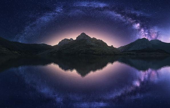 Картинка небо, вода, звезды, горы, ночь, отражение, млечный путь