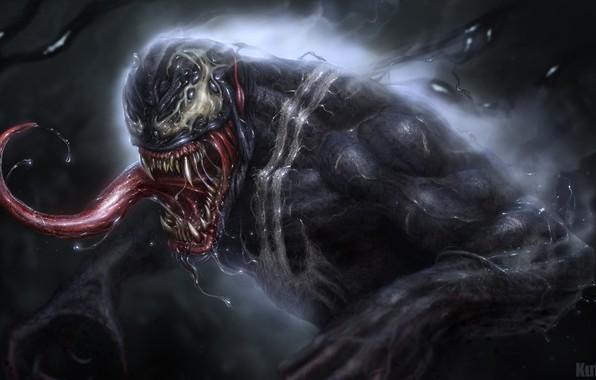 Картинка язык, арт, Marvel, слюни, Marvel Comics, Venom, Eddie Brock