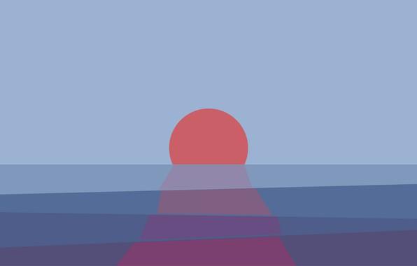 Картинка море, солнце, закат, горизонт