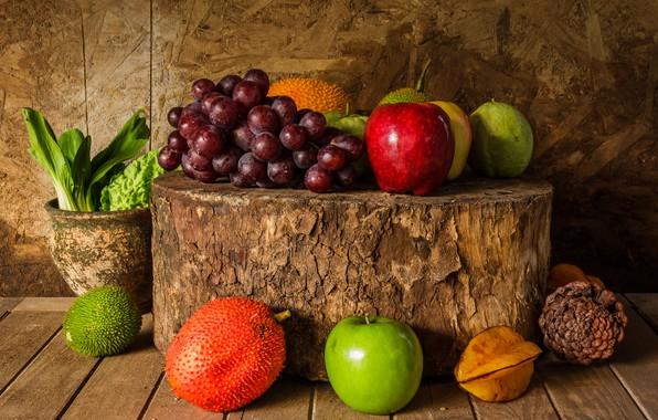 Картинка яблоки, букет, виноград, фрукты, натюрморт, wood, autumn, still life, fruits, осенний