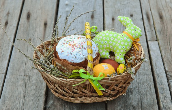 Картинка ветки, корзина, яйца, Пасха, кулич, wood, верба, spring, Easter, eggs, decoration, Happy