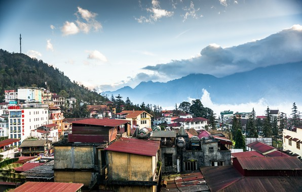 Картинка Горы, Город, Панорама, Вьетнам, Vietnam, Mountains, Panorama, Town, Sa Pa, Шапа