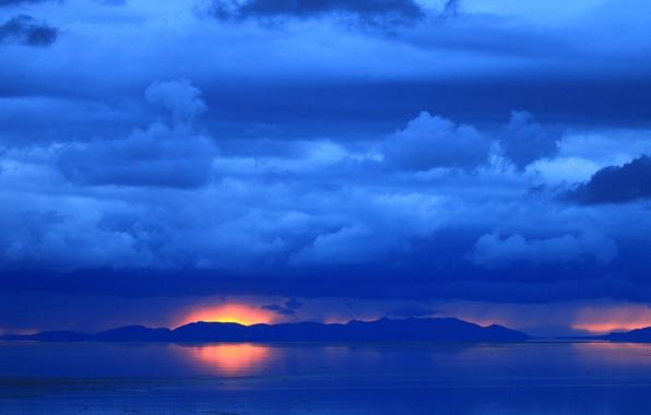 Картинка закат, горы, озеро, зарево, Юта, США, Antelope Island State Park