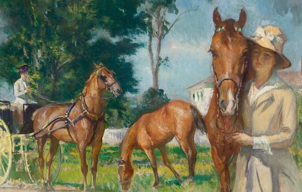 Картинка девушка, картина, лошади, Эдмунд Тарбелл, New Castle Poppy, Edmund Charles Tarbell