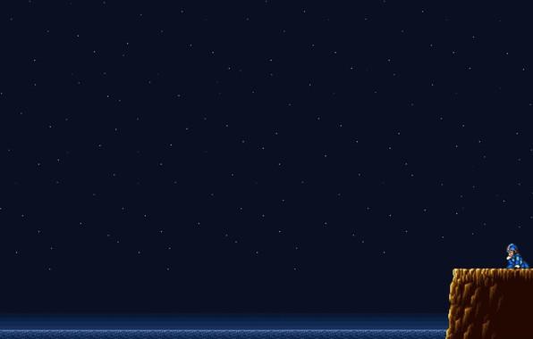 Картинка Небо, Минимализм, Ночь, Звезды, Игра, Ретро, Пиксели, Mega Man, PXL, ретро-игра, Mega Man X