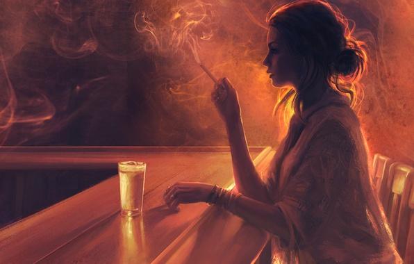 Картинка девушка, стакан, дым, стулья, сигарета, профиль, скука, барная стойка, Mandy Jurgens
