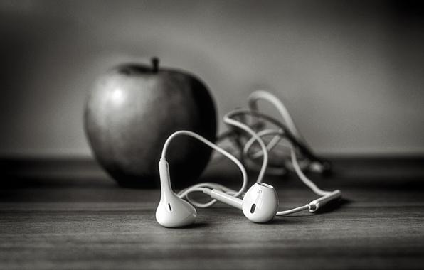 Картинка яблоко, наушники, iphone, ч-б, Ѽ, ☊