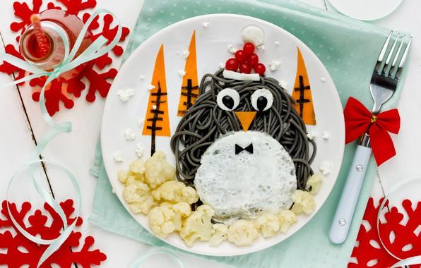 Картинка украшения, Новый Год, Рождество, пингвин, Christmas, Merry Christmas, Xmas, блюдо, decoration, сервировка, holiday celebration