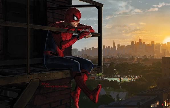 Картинка Солнце, Небо, Нью-Йорк, Рисунок, Город, Балкон, Костюм, Здания, City, Герой, Кино, Маска, Sky, Супергерой, Hero, …
