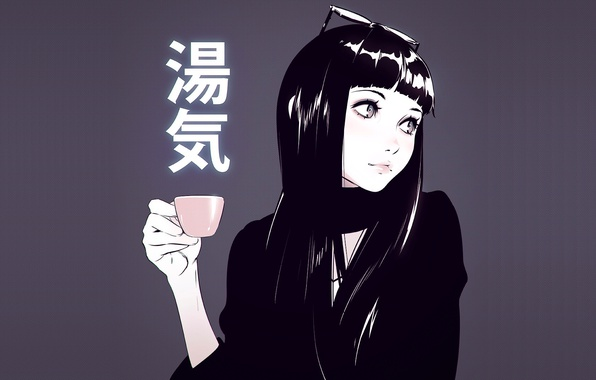 Картинка девушка, фон, очки, чашка, anime, art, Илья Кувшинов