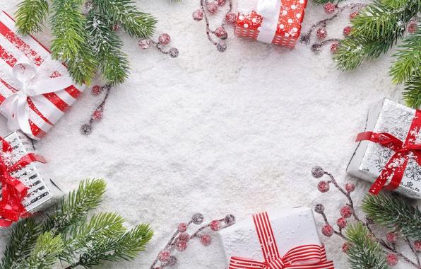 Картинка снег, ветки, ягоды, Новый Год, Рождество, подарки, christmas, wood, winter, snow, merry christmas, decoration, gifts, …