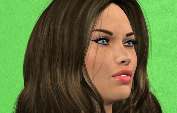 Картинка девушка, портрет, причёска, зелёный фон