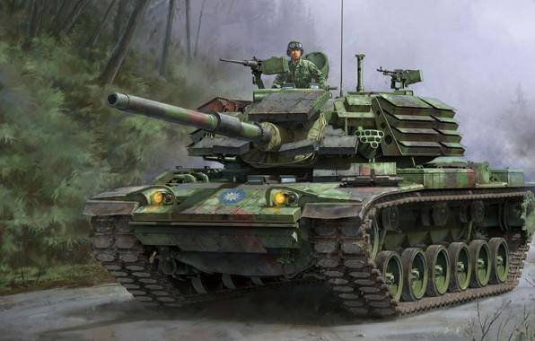 Картинка средний танк, вариант для Тайваня, установленной на корпус M60, CM-11, с доработанной башней M48H, ROC, …