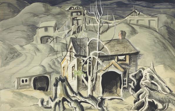 Картинка 1918, Charles Ephraim Burchfield, вижионаризм, Deserted Miner's Home