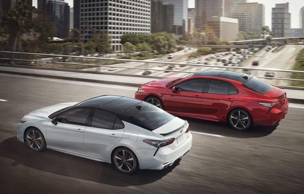 Фото обои Toyota, Red, XSE, 2017, White, Camry